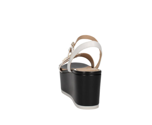 Sandalo a zeppa Guess in pelle bianca con para nera-6