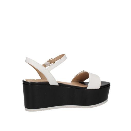 Sandalo a zeppa Guess in pelle bianca con para nera-3