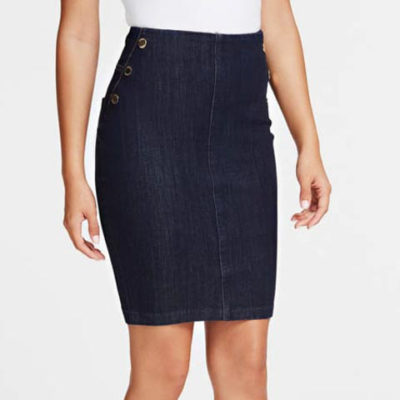 GUESS gonna in jeans scuro con bottoni