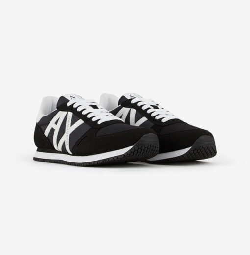 scarpa allacciata nera Armani Exchange uomo logo a contrasto-2