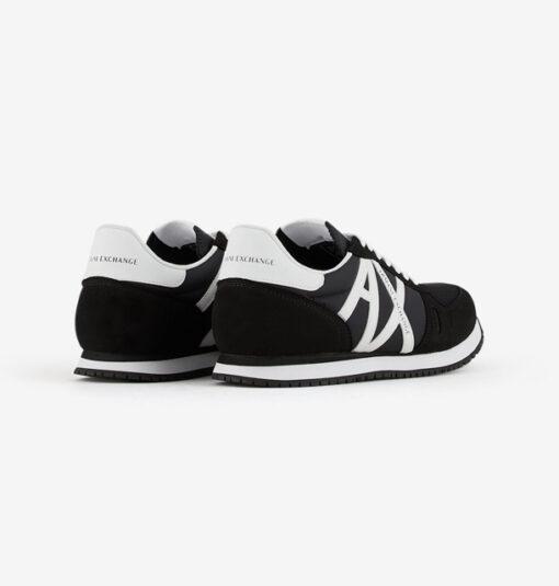 scarpa allacciata nera Armani Exchange uomo logo a contrasto-3
