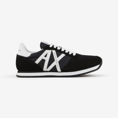 scarpa allacciata nera Armani Exchange uomo logo a contrasto