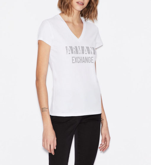 T-shirt scollo a v Armani Exchange con scritta logo -1