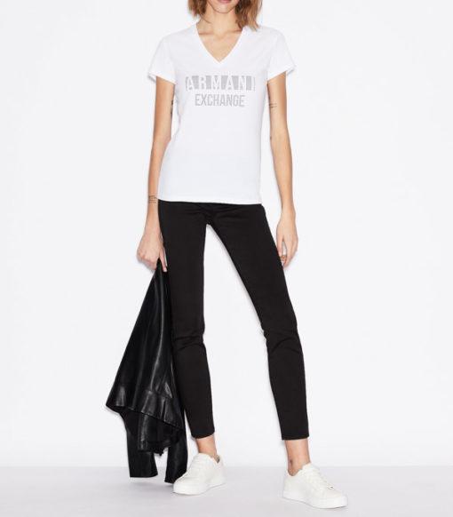 T-shirt scollo a v Armani Exchange con scritta logo -5