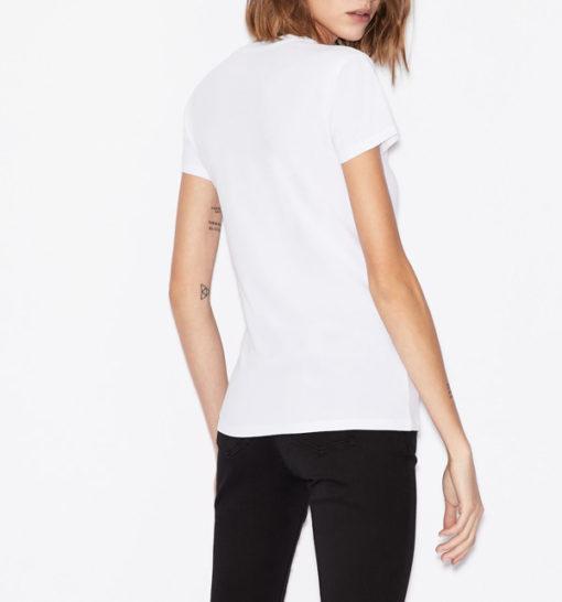 T-shirt scollo a v Armani Exchange con scritta logo -8
