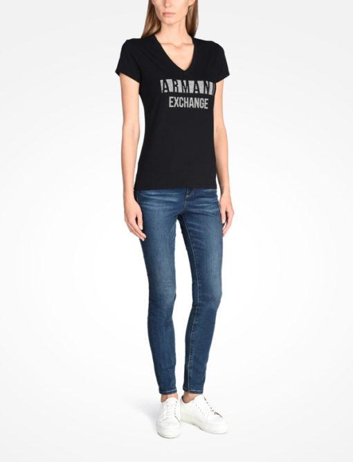 T-shirt scollo a v Armani Exchange con scritta logo -6