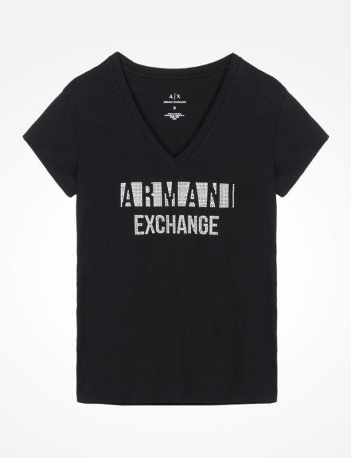 T-shirt scollo a v Armani Exchange con scritta logo -7