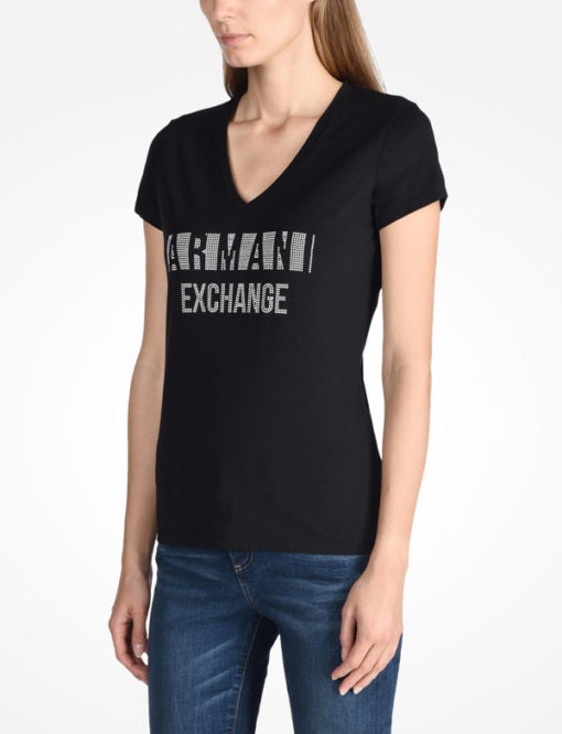 T-shirt scollo a v Armani Exchange con scritta logo -4