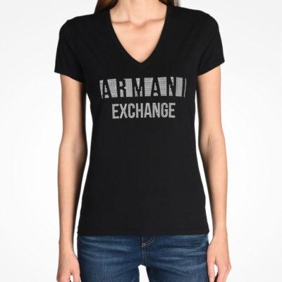 T-shirt scollo a v Armani Exchange con scritta logo