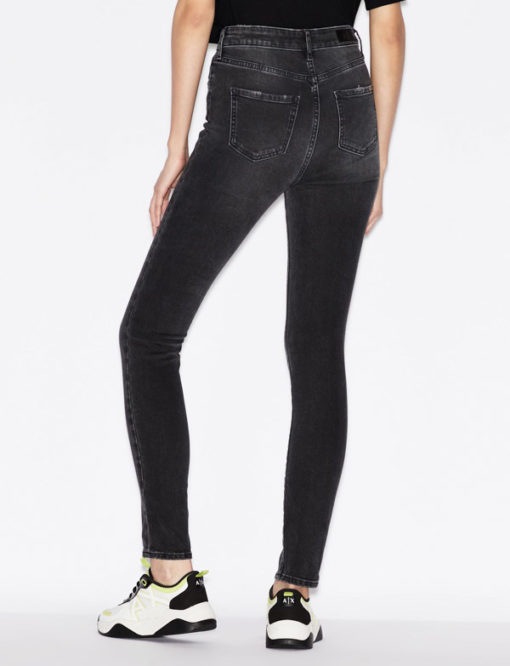 Jeans Armani Exchange nero donna vita alta slim fit-4