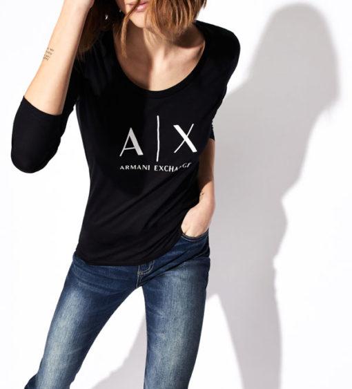 maglietta manica lunga Armani Exchange da donna con logo-2