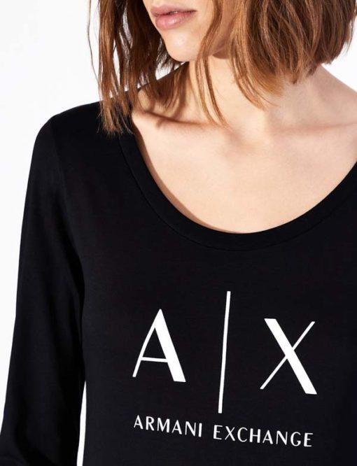 maglietta manica lunga Armani Exchange da donna con logo-1
