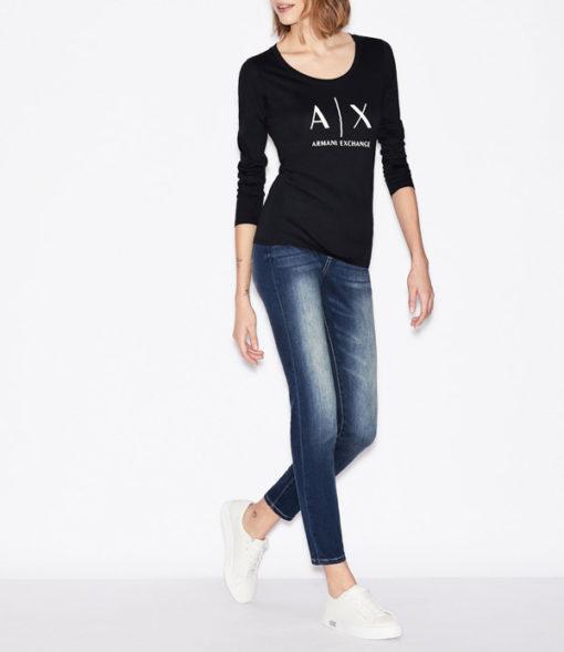 maglietta manica lunga Armani Exchange da donna con logo-4