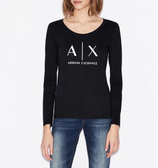 maglietta manica lunga Armani Exchange da donna con logo