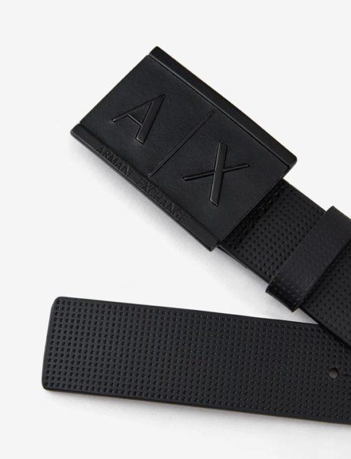 Cintura Armani Exchange uomo con fibbia logo rettangolare-1