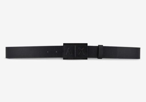 Cintura Armani Exchange uomo con fibbia logo rettangolare-2
