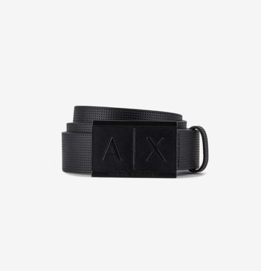Cintura Armani Exchange uomo con fibbia logo rettangolare-3