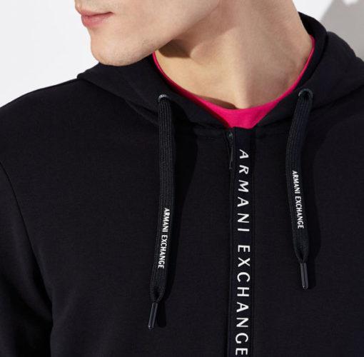 Armani Exchange felpa zip uomo con logo e cappuccio-2