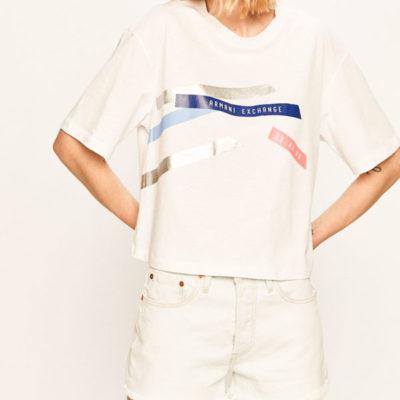 Maglietta donna Armani Exchange con stampa e vestibilità regolare