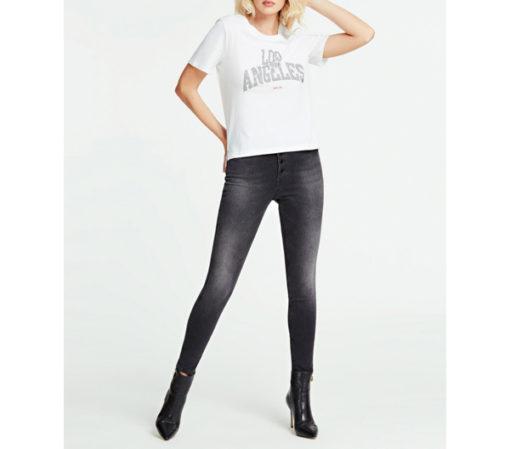 GUESS t-shirt morbida da donna con scritta con applicazioni-2