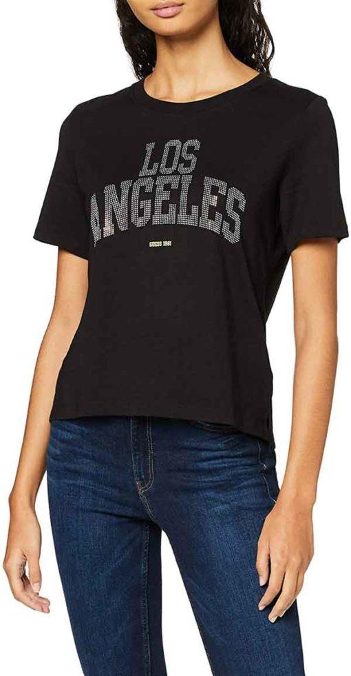 GUESS t-shirt morbida da donna con scritta con applicazioni-3