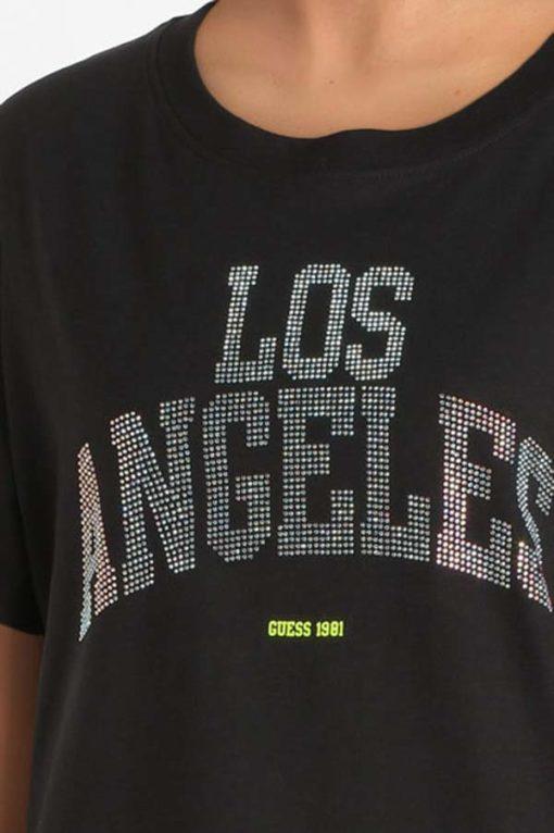 GUESS t-shirt morbida da donna con scritta con applicazioni-7