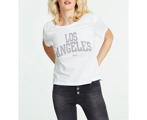 GUESS t-shirt morbida da donna con scritta con applicazioni