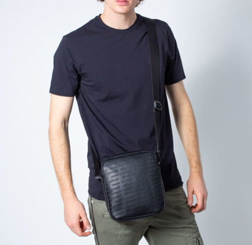 Armani Exchange borsa uomo con logo frontale all over-4