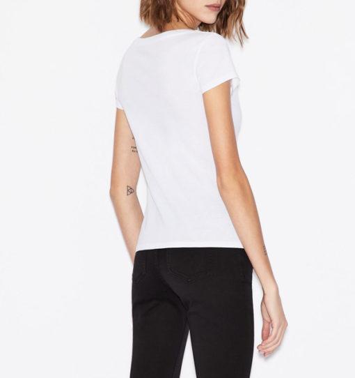 Armani Exchange t-shirt con applicazioni scollo madonna-8