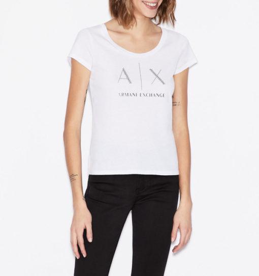 Armani Exchange t-shirt con applicazioni scollo madonna