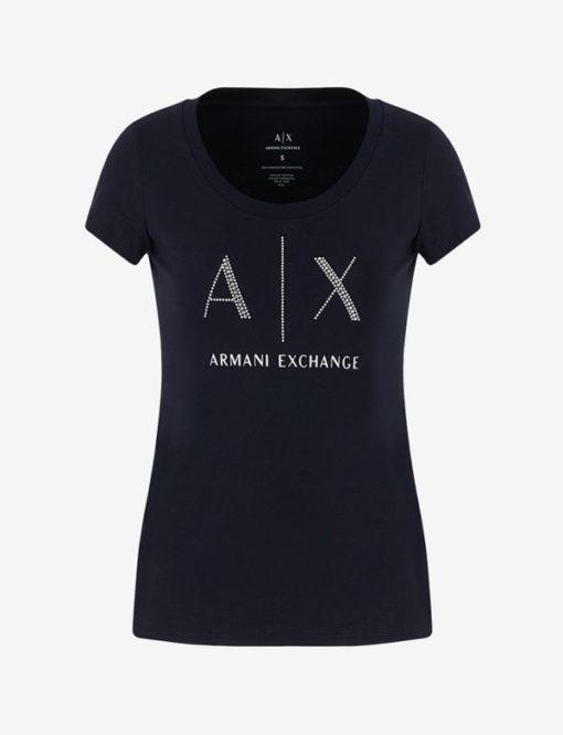 Armani Exchange t-shirt con applicazioni scollo madonna-7