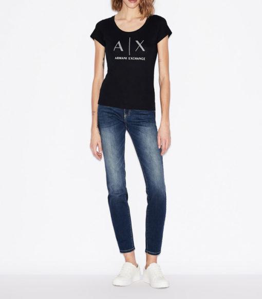 Armani Exchange t-shirt con applicazioni scollo madonna-5