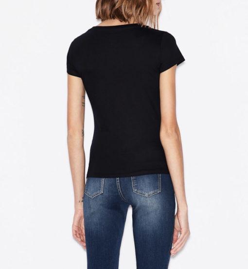 Armani Exchange t-shirt con applicazioni scollo madonna-9