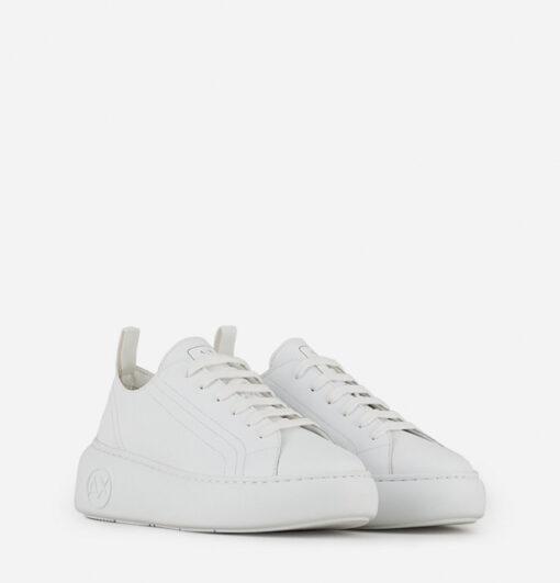 Armani Exchange sneakers in pelle bianca da donna con para alta-1