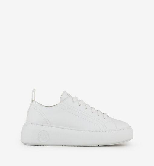 Armani Exchange sneakers in pelle bianca da donna con para alta