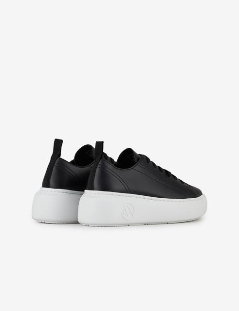 Armani Exchange sneakers in pelle nera da donna con para alta-2