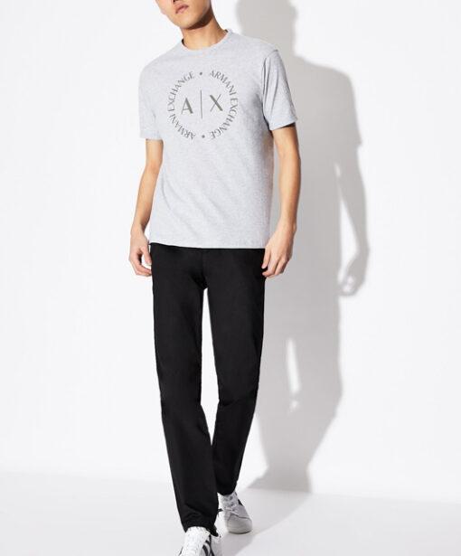 maglietta grigia uomo con logo frontale Armani Exchange-2