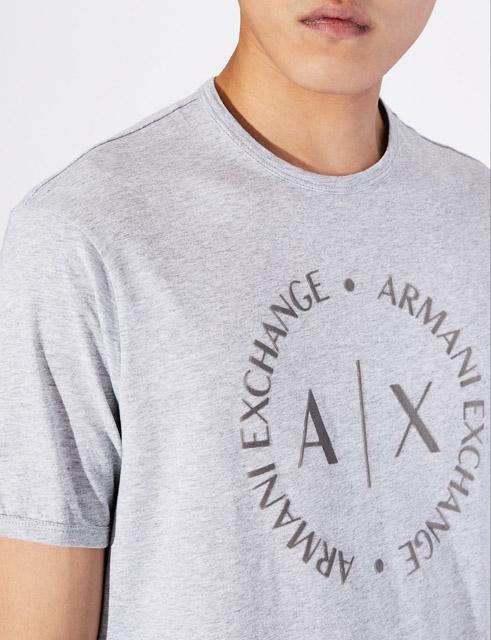maglietta grigia uomo con logo frontale Armani Exchange-1