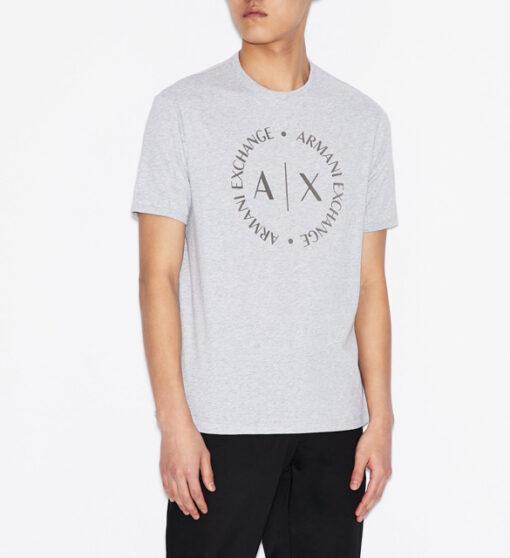 maglietta grigia uomo con logo frontale Armani Exchange