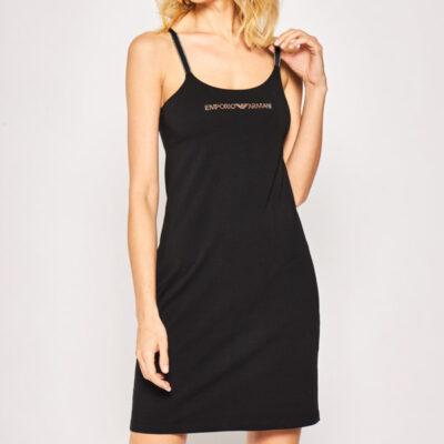 Emporio Armani vestito corto nero in maglina
