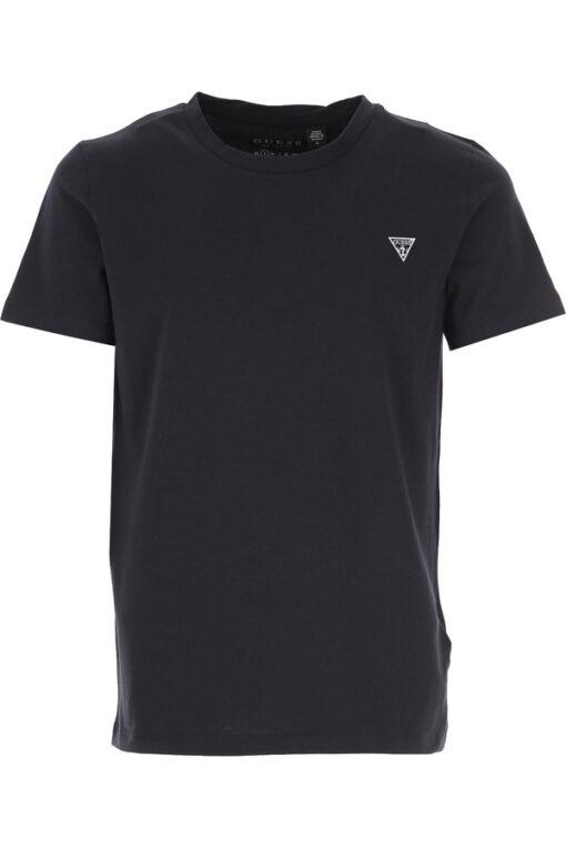 T-shirt GUESS uomo tinta unita con piccolo logo-4
