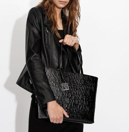 ARMANI EXCHANGE borsa logata in vernice nera da donna-3