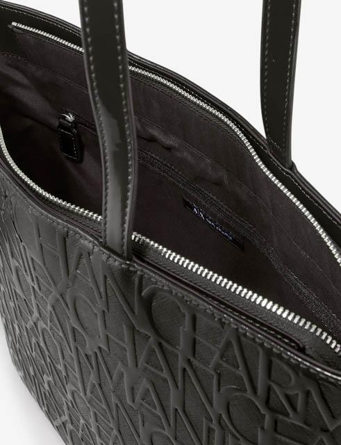 ARMANI EXCHANGE borsa logata in vernice nera da donna-4