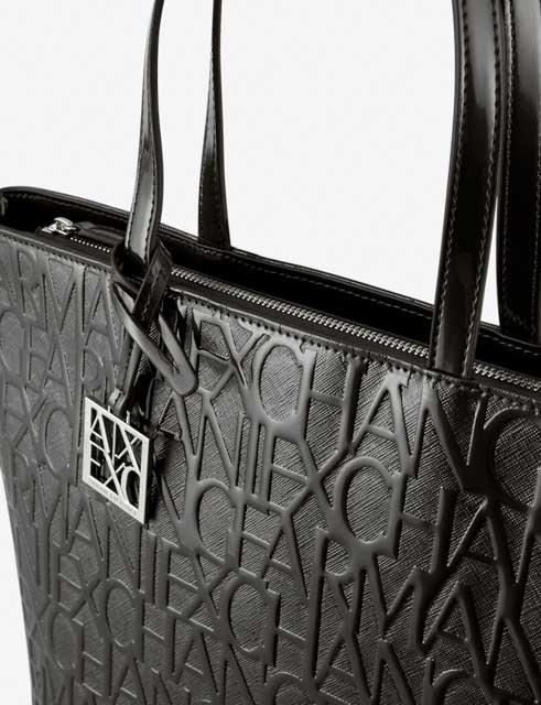 ARMANI EXCHANGE borsa logata in vernice nera da donna-2