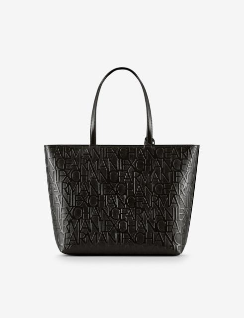 ARMANI EXCHANGE borsa logata in vernice nera da donna