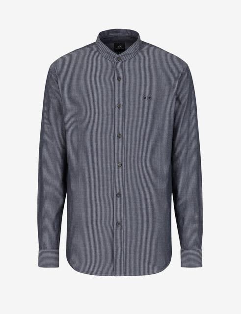 camicia Armani Exchange rigata con collo alla coreana-1