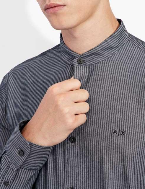 camicia Armani Exchange rigata con collo alla coreana-2