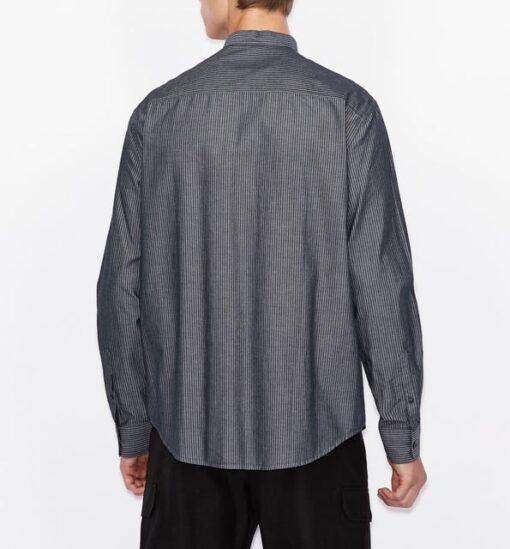 camicia Armani Exchange rigata con collo alla coreana-4