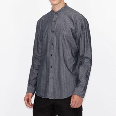 camicia Armani Exchange rigata con collo alla coreana