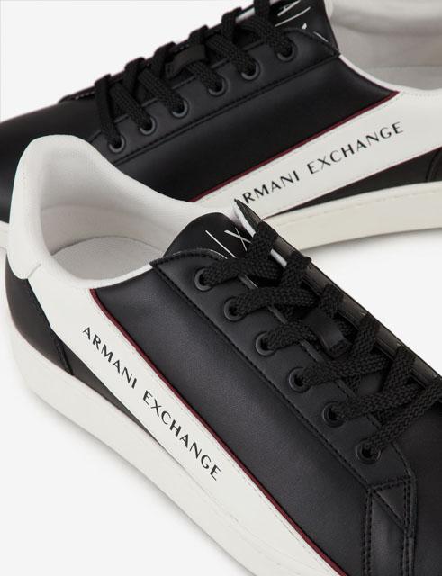 ARMANI EXCHANGE sneakers in pelle in tinta unita da uomo-4